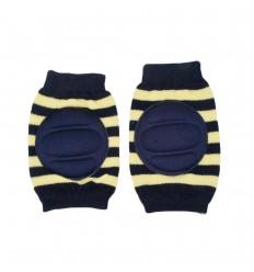 Protector de rodillas para bebé azul con amarillo