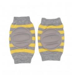 Protector de rodillas para bebés gis y amarillo