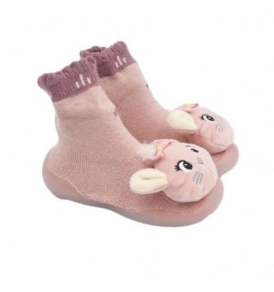 Medias zapato para bebé rosadas