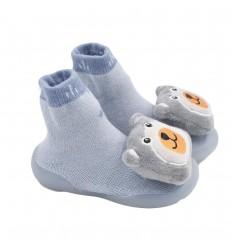 Medias zapato para bebé azul