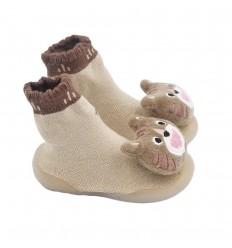 Medias zapato para bebé cafe