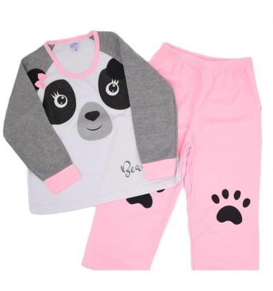 Pijama de dos piezas panda rosada