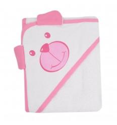 Toalla con capota diseño de oso rosa