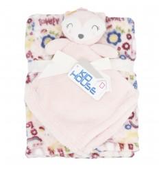 Cobertor con muñeco de apego de animal