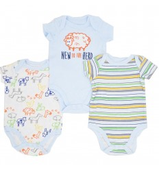 Bodys por 3 para bebé niño-azules