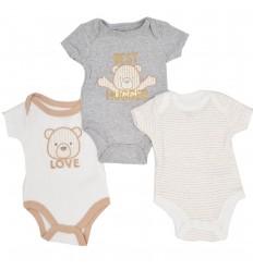 Bodys por 3 para bebé niño