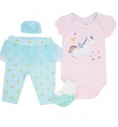 Conjunto 4 piezas para bebé niña-unicornio