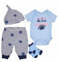 Conjunto 4 piezas para bebé niño-azul