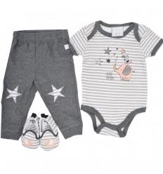 Conjunto 3 piezas para bebé niño-gris