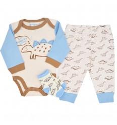 Conjunto 3 piezas para bebé niño-dinosaurios