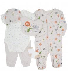Conjunto 6 piezas para bebé niño-beige