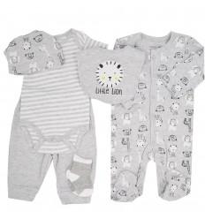 Conjunto 6 piezas para bebé niño-gris