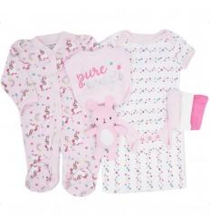 Conjunto 6 piezas para bebé niña-unicornio