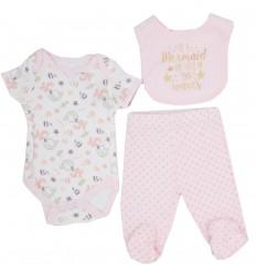 Conjunto 3 piezas para bebé niña-sirenas