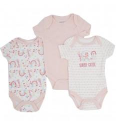 Set de bodys por 3 para bebé niña
