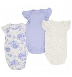 Set de bodys por 3 para bebé niña-azul