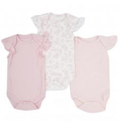 Set de bodys por 3 para bebé niña-rosa