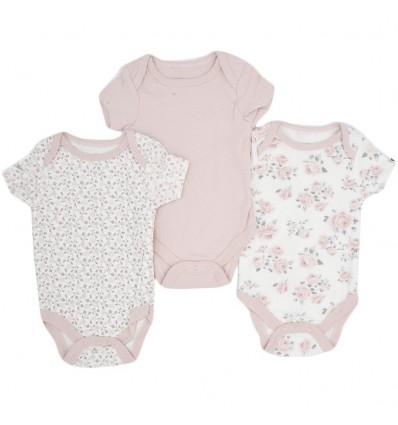 Set de bodys por 3 para bebé niña-flores