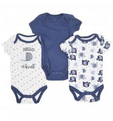 Set de bodys por 3 para bebé niño-azul
