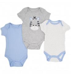 Set de bodys por 3 para bebé niño-cebra