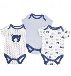 Set de bodys por 3 para bebé niño-oso