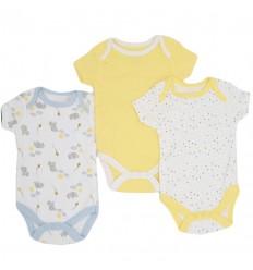 Set de bodys por 3 para bebé niño-amarillos
