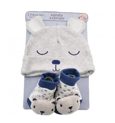 Set de gorro y medias para bebé-Oso