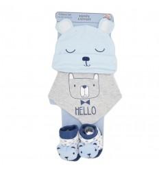 Set de gorro con bandanas y medias para bebé