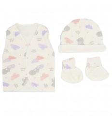Set de ropa para bebè prematura-nubes