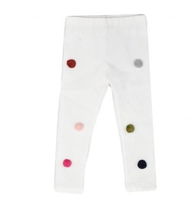 Legging blanco con ponpones de colores