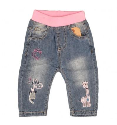 Pantalon jean para bebé niña-animales