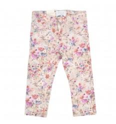Pantalon en dril para niña estampado flores