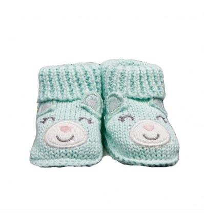 Medias zapato en hilo verde de oso