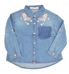 Camisa en jean para niña-azul claro