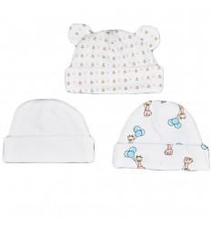 Set de 3 gorros para bebé niña prematura