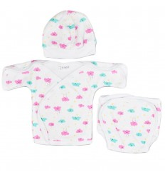 Conjunto 3 piezas para bebé prematura-nubes