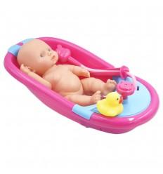 Tina con bebé y accesorios-fucsia