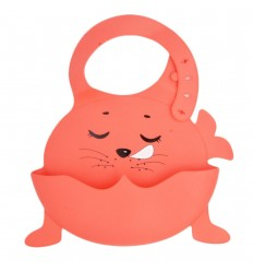 Babero en silicona diseño de animal-rojo