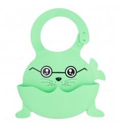 Babero en silicona diseño de animal-verde