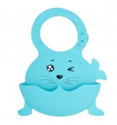 Babero en silicona diseño de animal-azul
