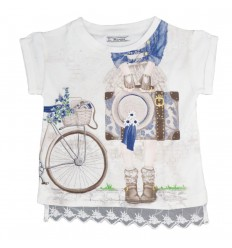Camisa manga corta para niña-beige