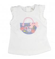 Camisa manga sisa para bebé-blanca