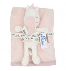 Cobertor con muñeco de apego-unicornio