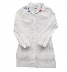 Vestido manga larga en tul-blanco
