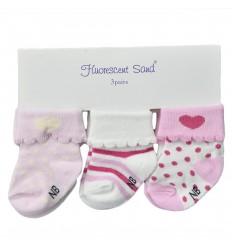Medias por 3 para bebé niña-rosa