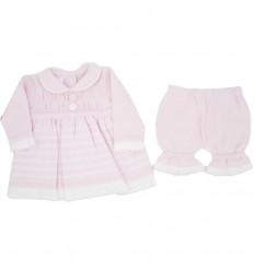 Conjunto para bebé niña en hilo-Rosa