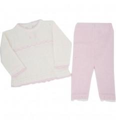Conjunto para bebé niña en hilo- rosa