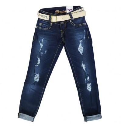 Jean para niña con cinturon-azul