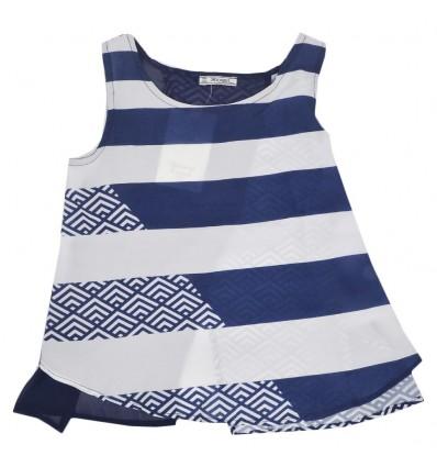 Blusa manga sisa para niña - azul
