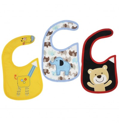 Set de 3 baberos para bebé-animales